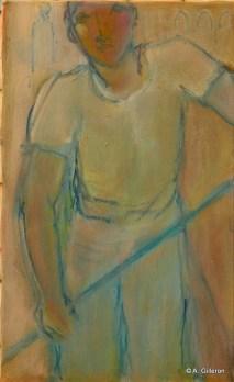 H55 - Gondolier et rame bleue (50x30 cm)