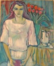 DAD - Emmanuelle aux tulipes 100x80 cm Collection particulière01