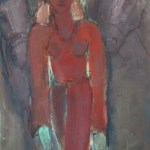 Fille rouge avec deux chevaux Huile sur toile l73 x H92 cm