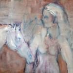 White horse Huile sur toile l65 x H81 cm
