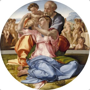 the holy family with st john - doni tondo - michelangelo