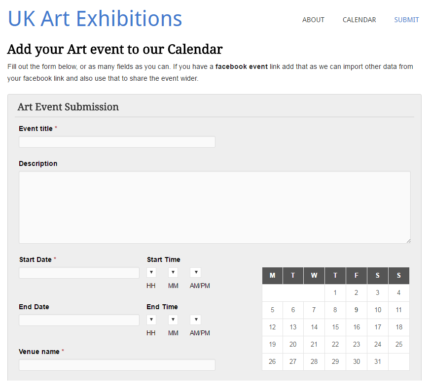 Submit Art Event