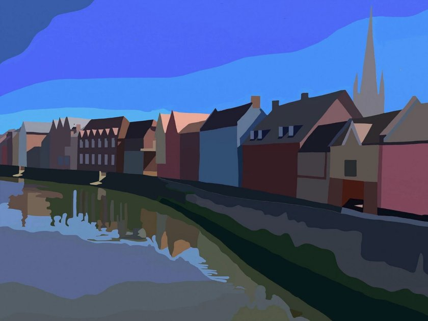Artist Ken Hurst, River Wensum downstream from Fye Bridge