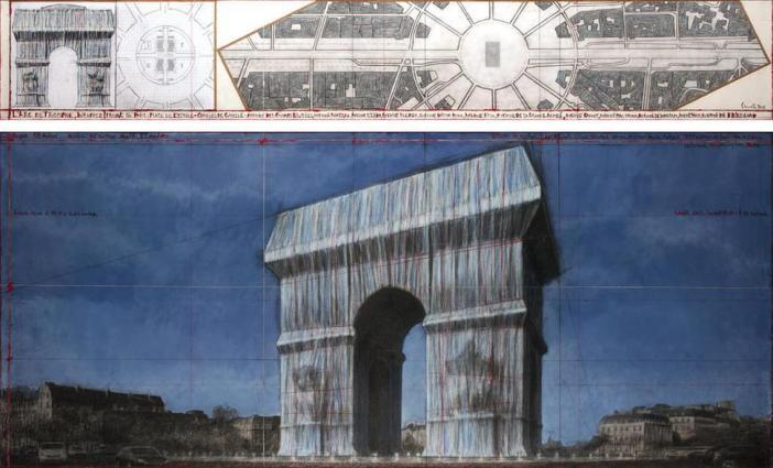 Christo, L'Arc de Triomphe, Wrapped (Project for Paris) Place de l'Etoile – Charles de Gaulle. Desenho de 2019 em duas partes