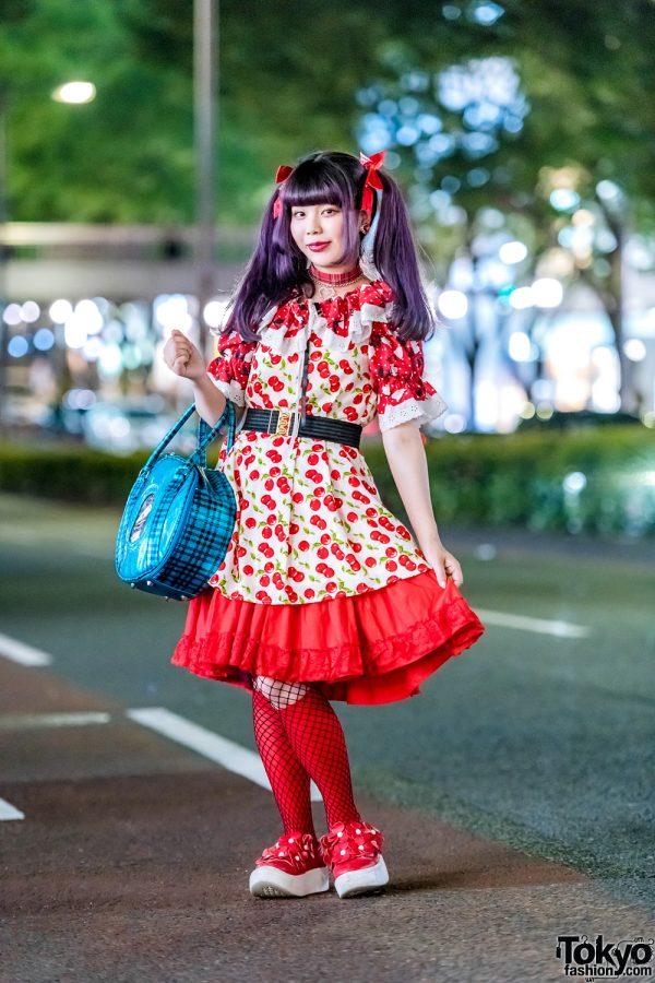 MaiMai Dengan Motif Bunga Merah Punk Cake Harajuku Fashion 2