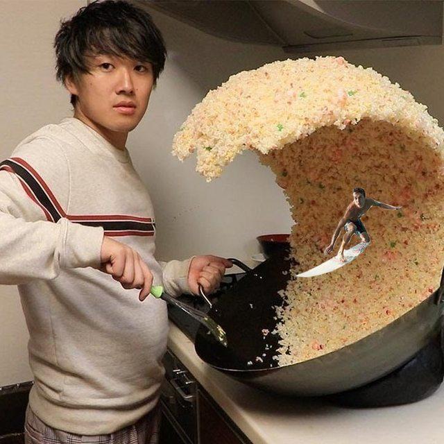 Cerita Dibalik Viralnya Foto Pria Jepang Dengan Ombak Nasi Goreng !