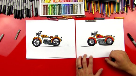 How To Draw A Motorcycle - Art For Kids Hub