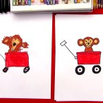 How To Draw A Wagon With A Monkey Art For Kids Hub