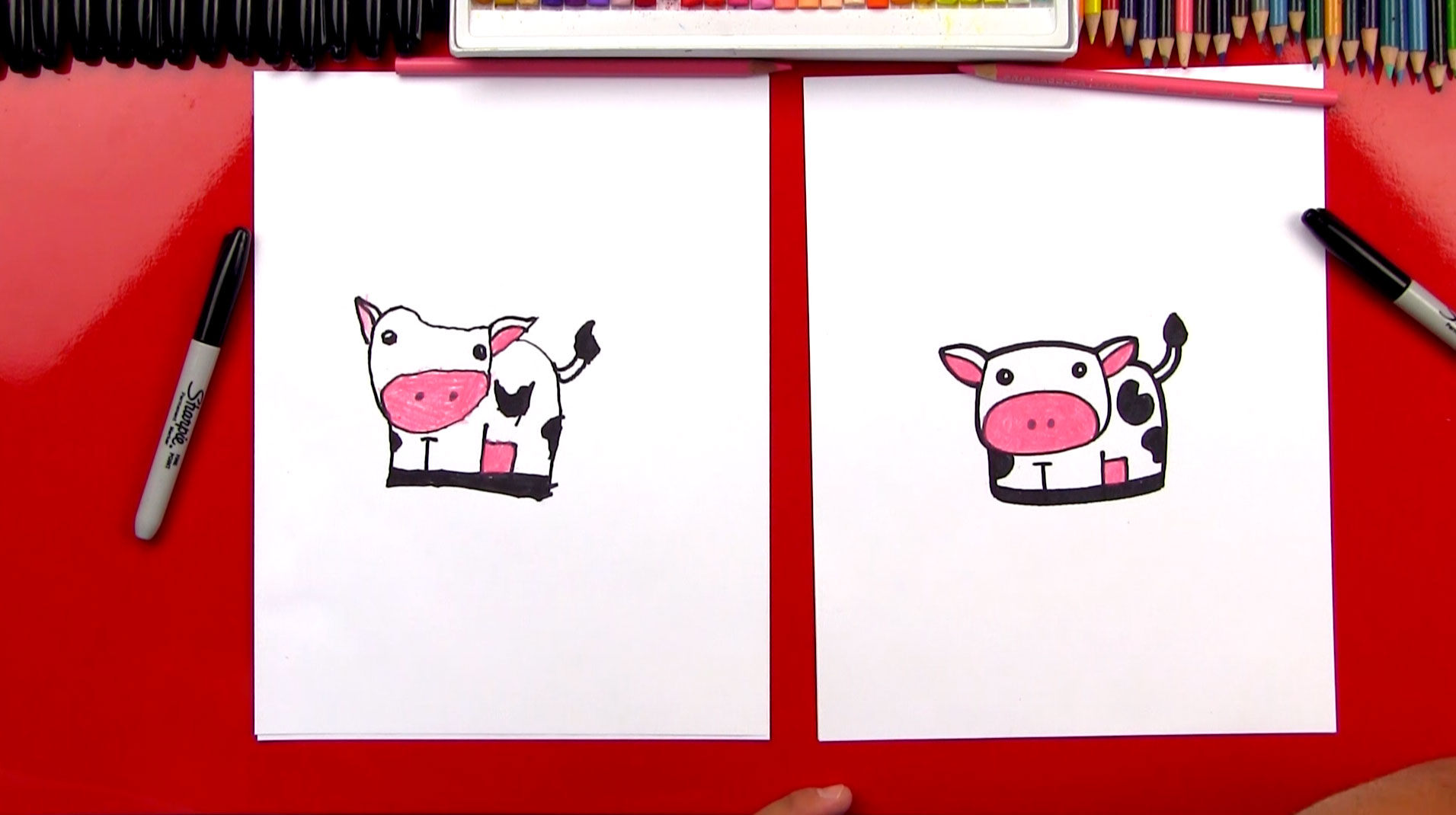 How To Draw A Cartoon Cow