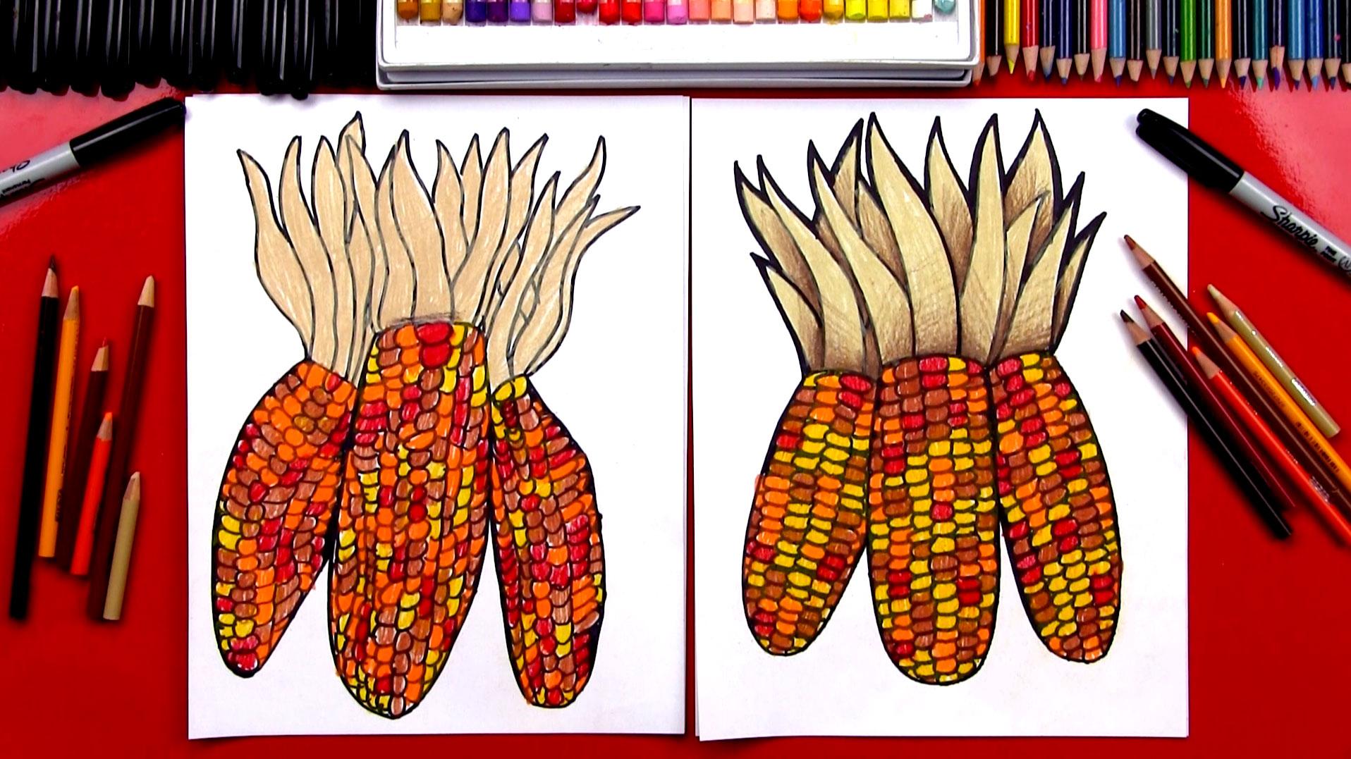 How To Draw Indian Corn Flint Corn