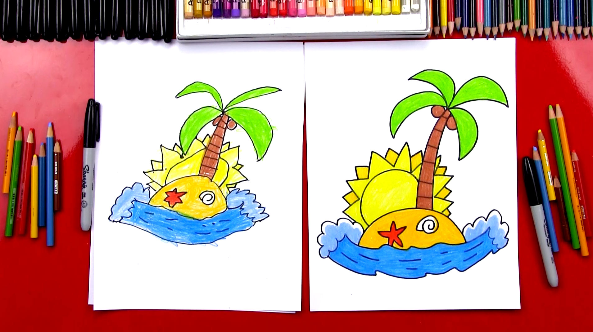 How To Draw An Island Art For Kids Hub