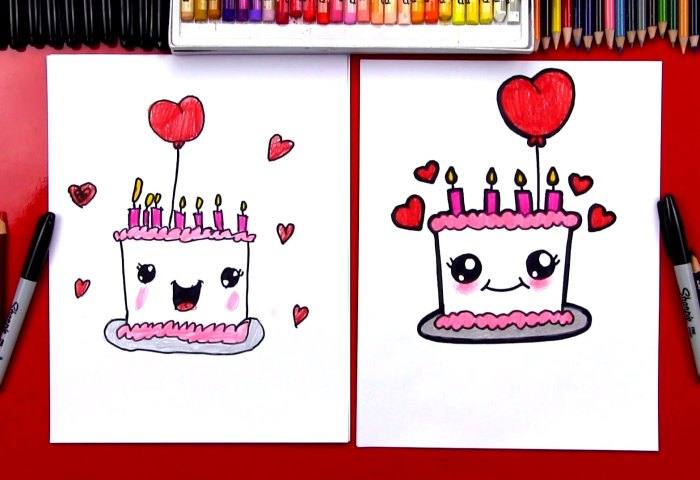 How To Draw A Cute Birthday Cake Art For Kids Hub