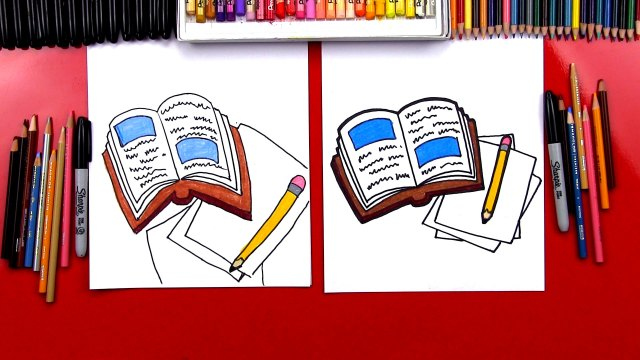 How To Draw A Book And Pencil - Art For Kids Hub