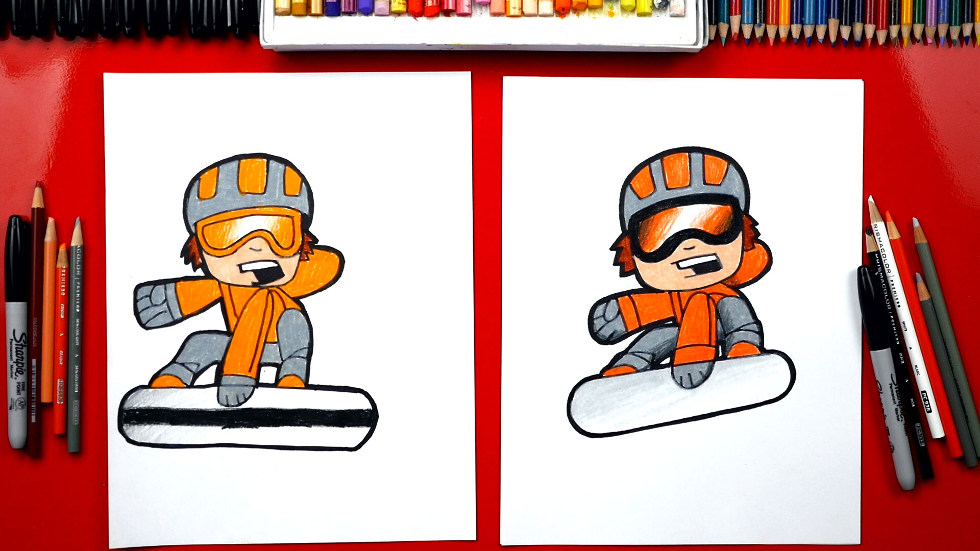 How To Draw A Cartoon Snowboarder Art For Kids Hub