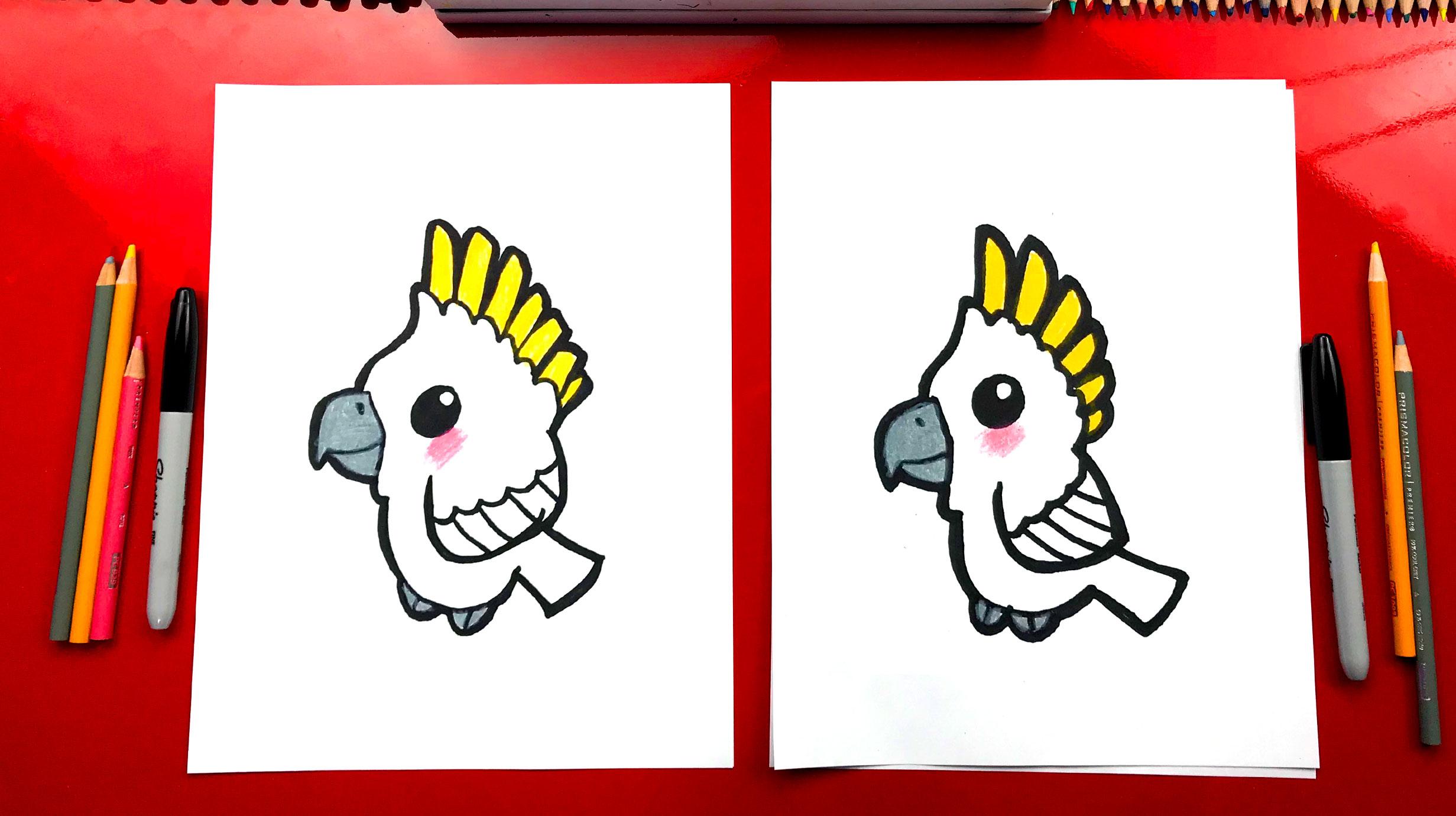 How To Draw A Cartoon Cockatoo