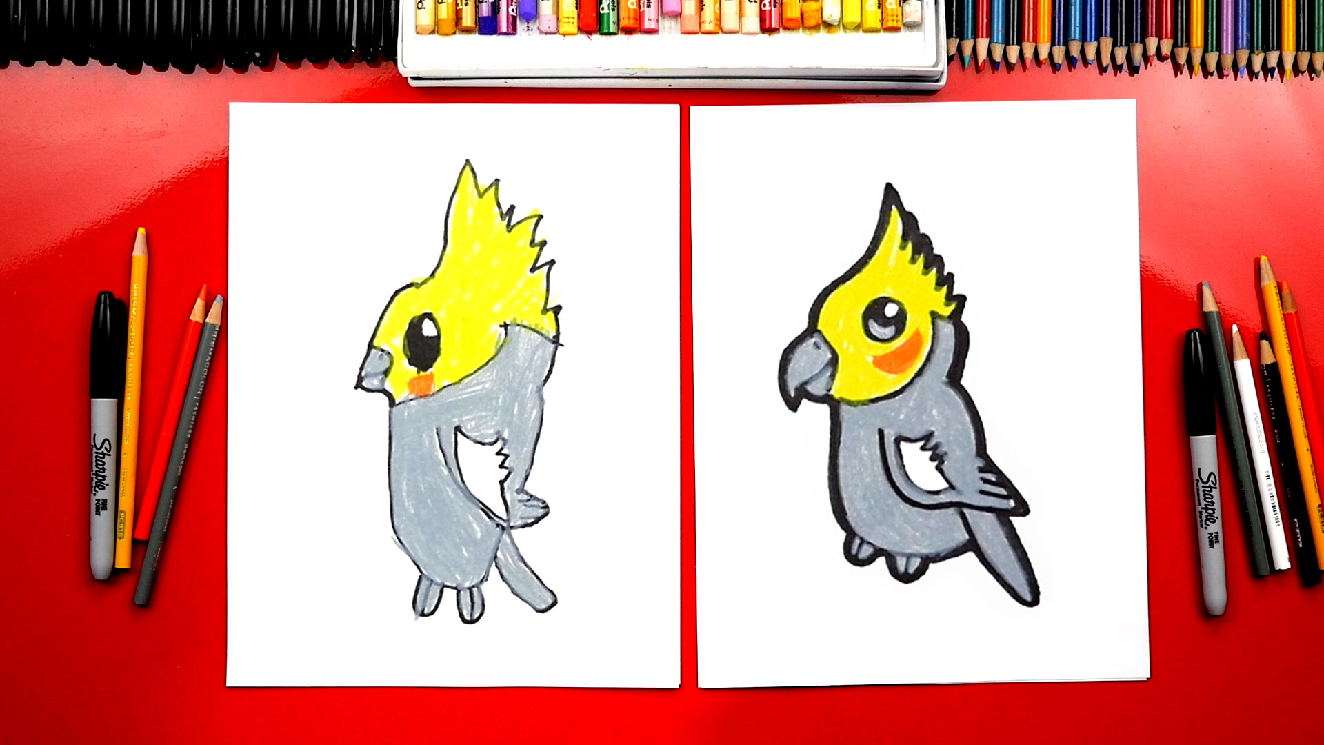 How To Draw A Cartoon Cockatiel