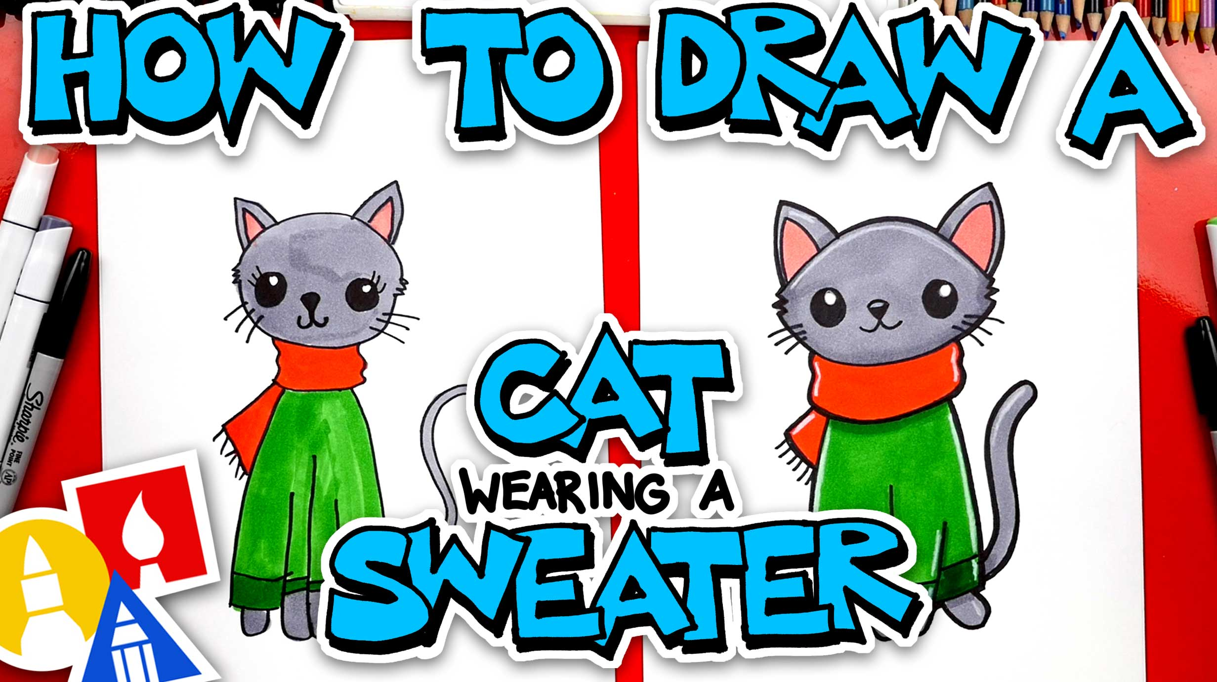 How To Draw A Christmas Cat Wearing A Sweater