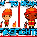 How To Draw A Firefighter Art For Kids Hub
