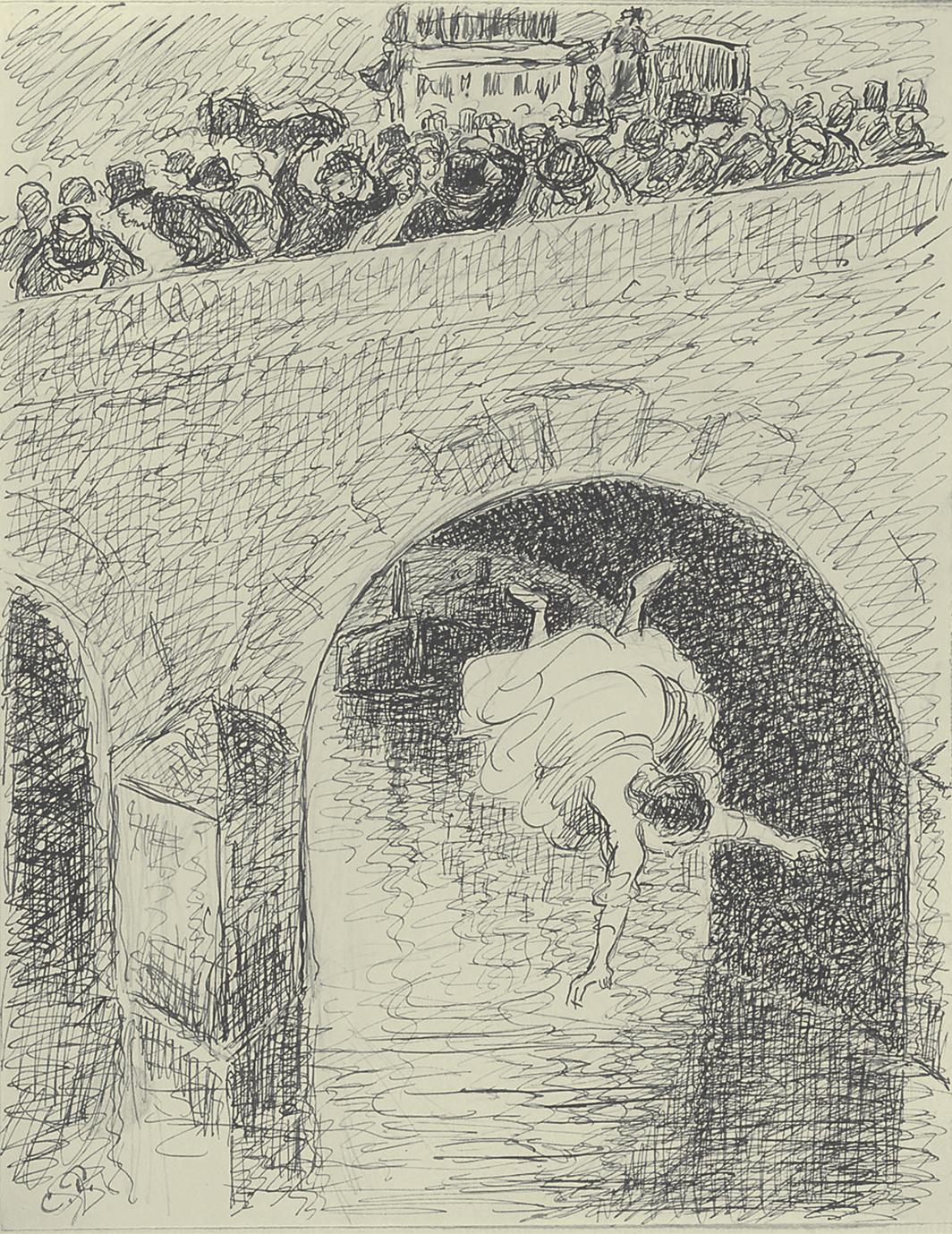 "Camille Pissarro, Suicide de l'abandonné (Suicide of an Abandoned Woman), 1889–90, ink and pencil on paper, 12 1⁄4 × 9 1⁄2"". From Turpitudes sociales (Social Disgraces), 1889–90."