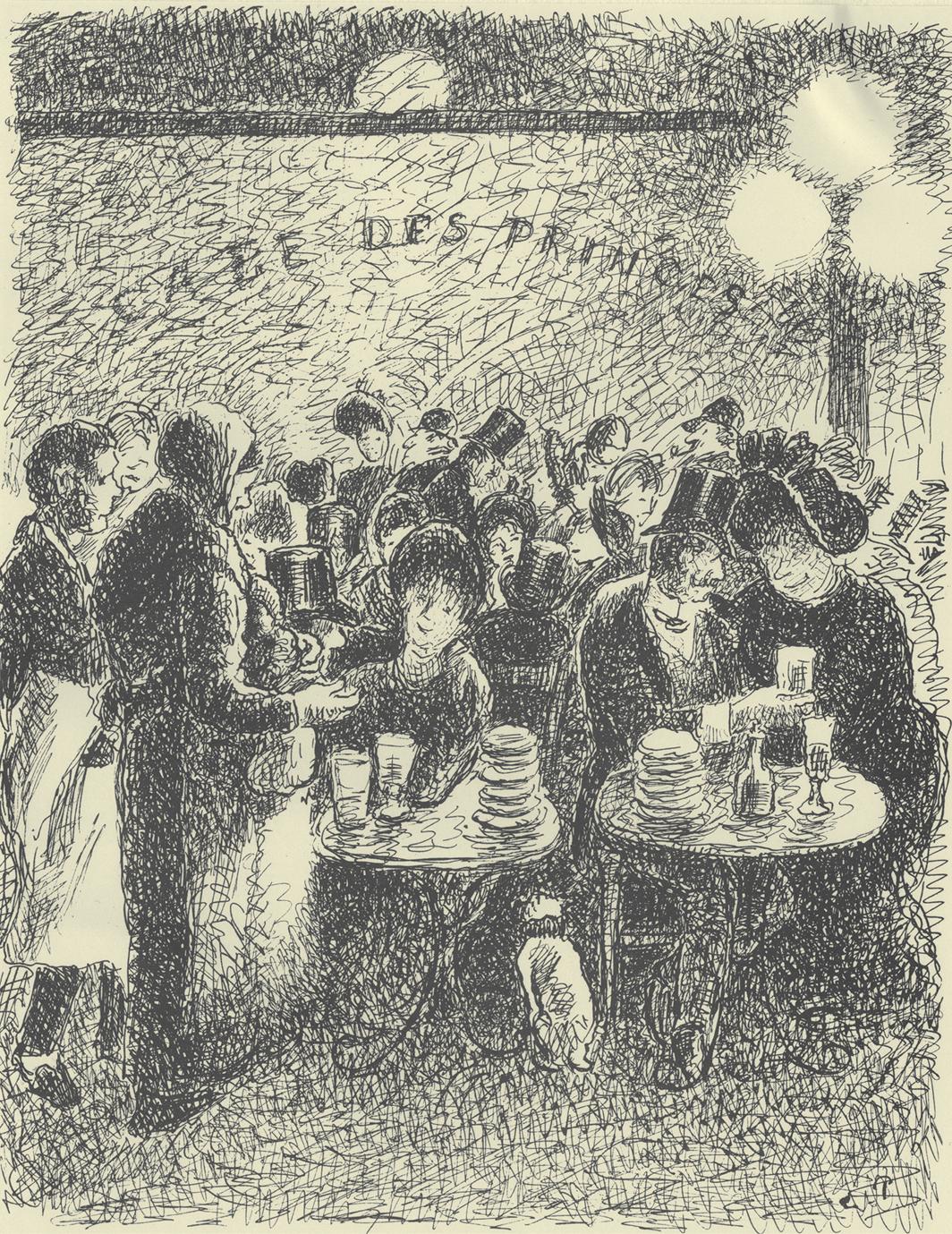 "Camille Pissarro, La vertu récompensée (Virtue Rewarded), 1889–90, ink and pencil on paper, 12 1⁄4 × 9 1⁄2"". From Turpitudes sociales (Social Disgraces), 1889–90."