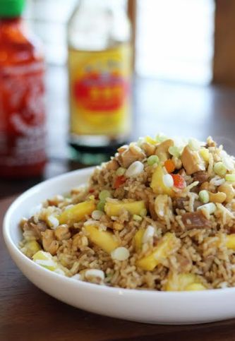Teriyaki Chicken Fried Rice with Fresh Pineapple