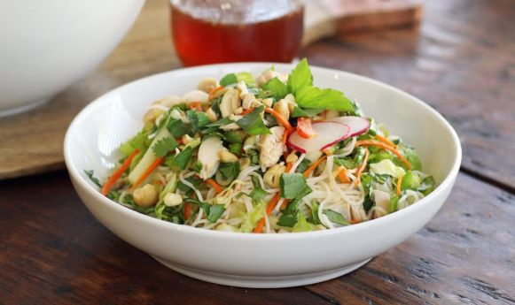 Chicken and Rice Noodle Salad with Fresh Herbs