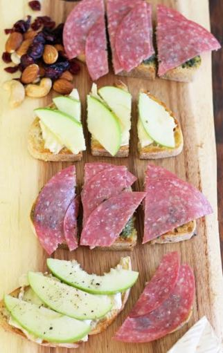 Bruschetta Board - Apple Brie and Salami Pesto