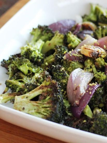 Close Up of Roasted Broccoli with Onions and Garlic Artful Dishes