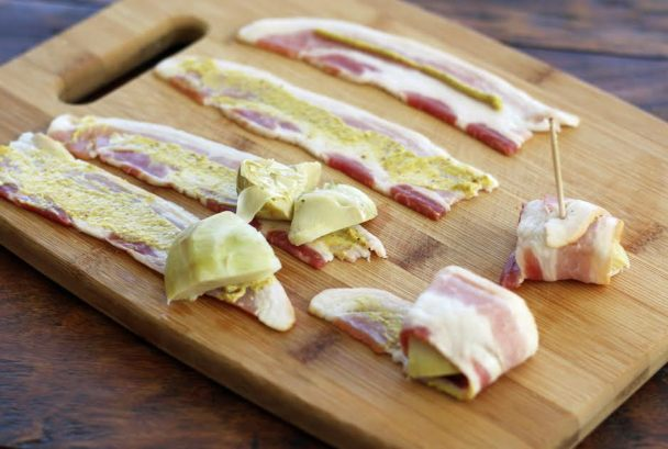 Making Bacon Artichoke Bundles - Artful Dishes
