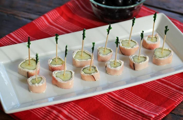 Ham and Pickle Rolls Three Ingredient Appetizer | www.artfuldishes.com