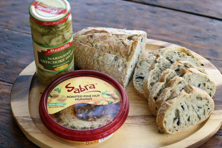 Ingredients for Hummus Artichoke Bruschetta | www.artfuldishes.com