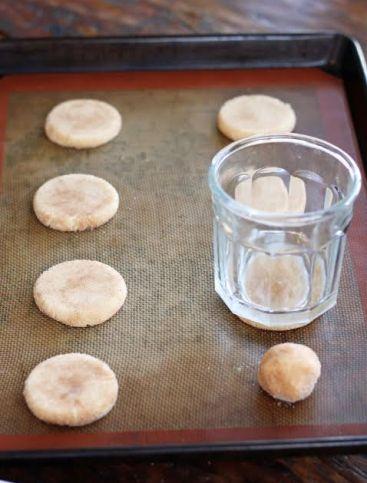Pressing Snickerdoodle Cookies