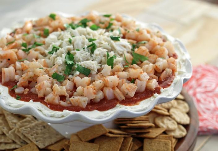 Seafood Party Dip with Roasted Shrimp and Crab Served with Crackers Three Ingredient Appetizer | www.artfuldishes.com