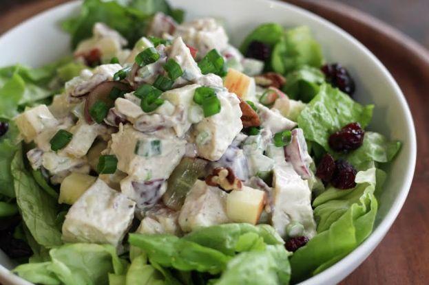 Turkey Pecan Waldorf Salad on Lettuce