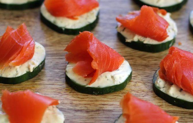 Beautiful Smoked Salmon on the Cucumber Bites Artful Dishes