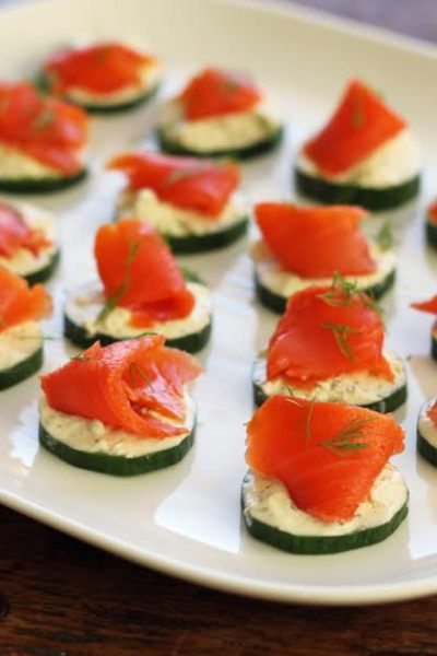 Cucumber Bites with Herbed Cheese and Smoked Salmon