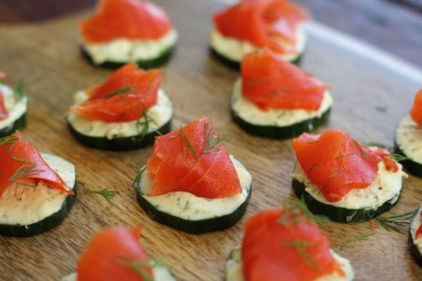 Cucumber Bites with Herbed Cheese and Smoked Salmon Close Up Artful Dishes