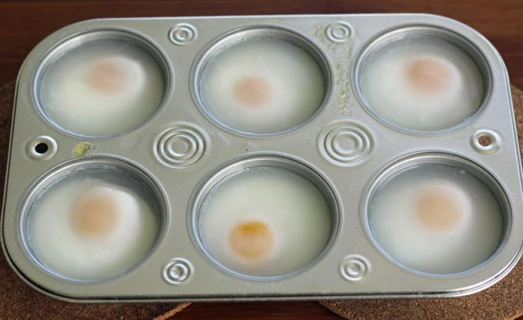 How to Poach Eggs in the Oven - The Cooked Eggs Under Water | artfuldishes.com