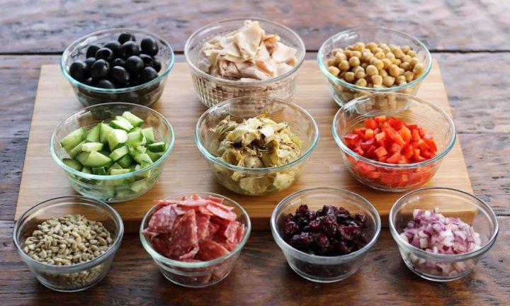 Meal Planning - Italian Chopped Salad Ingredients Artichokes Salami Veggies Chickpeas | artfuldishes.com