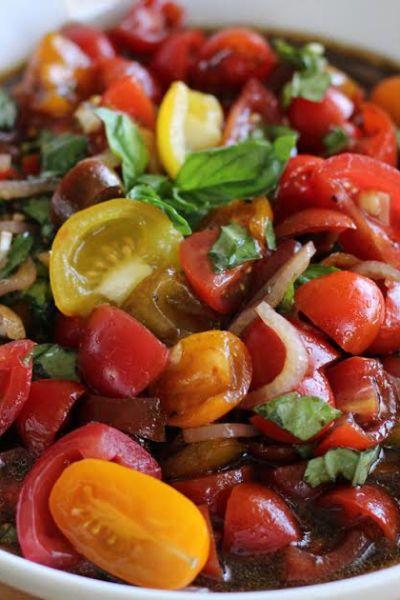 Marinated Tomato Salad with Basil and Balsamic