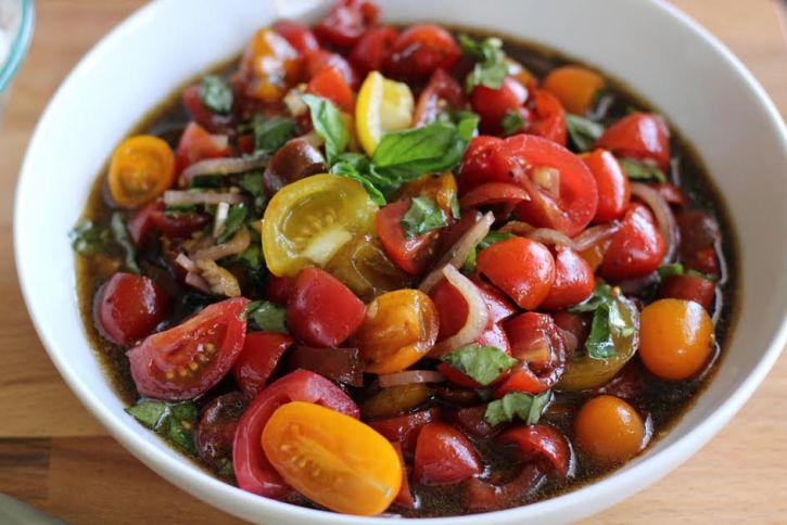 A Beautiful Bowl of Marinated Tomato Salad with Basil and Balsamic   artfuldishes.com