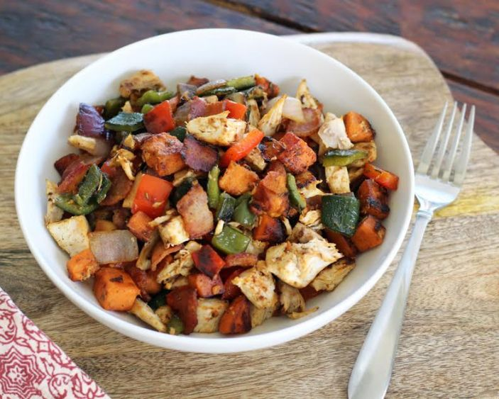 Chicken and Sweet Potato Hash with Roasted Poblanos | artfuldishes.com