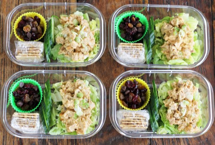 Chicken Salad Protein Boxes - Cucumbers Crackers Dried Fruit | artfuldishes.com