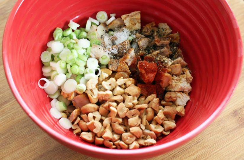 Mixing the Chicken Salad Ingredients for Protein Boxes with Toasted Sesame Oil | artfuldishes.com