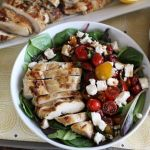 Skinny Grilled Lemon Garlic Chicken with Marinated Tomato Salad and Feta | artfuldishes.com