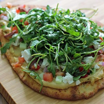 Greek Salad Naan Pizza