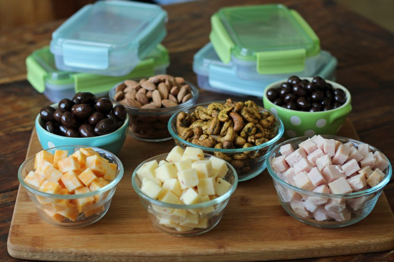Prepped Ingredients for Protein Snack Boxes with Turkey and Cheese Almonds | www.artfuldishes.com