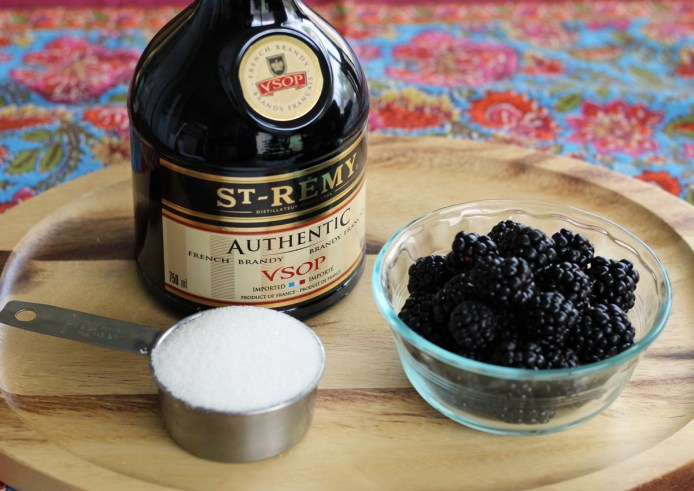 Ingredients to Make Blackberry Brandy | www.artfuldishes.com