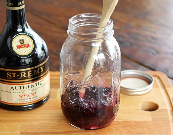 How to Make Blackberry Brandy - Muddling the Berries and Sugar | www.artfuldishes.com