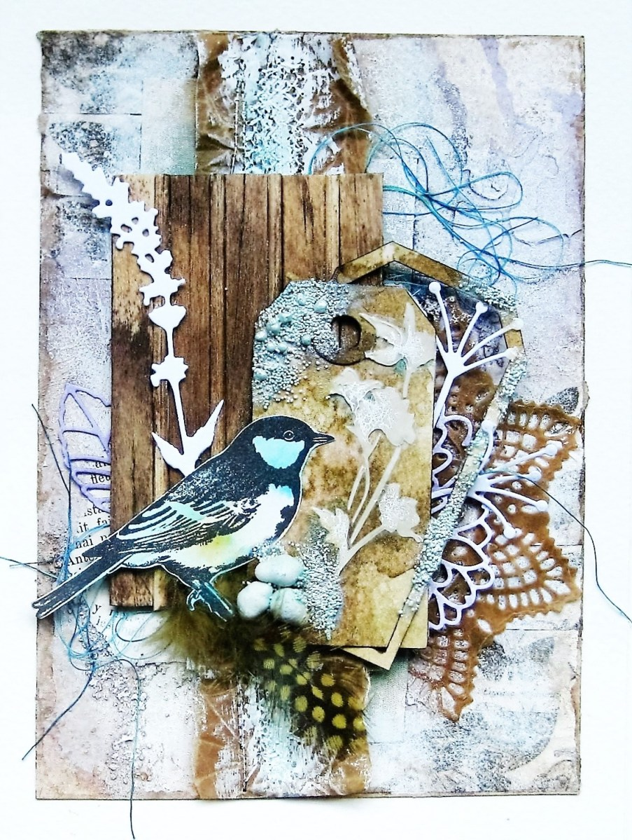 Summer song mixed media art card